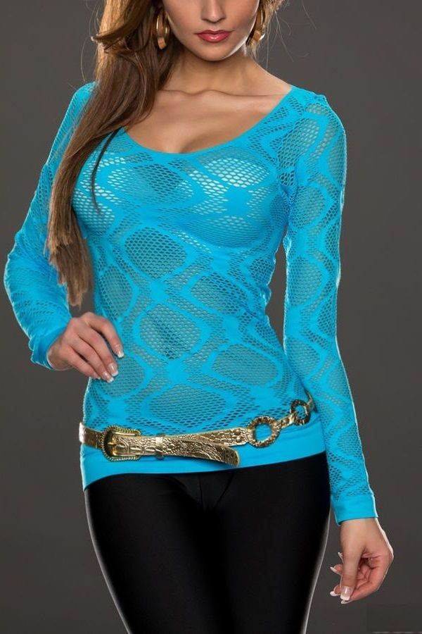 blouse net blue.