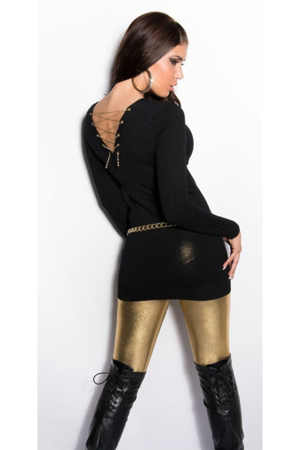 BLOUSE LONG KNITTED CHAIN BLACK ISDF8038