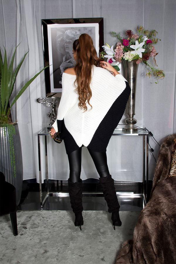 μπλούζα πλεκτή φόρεμα νυχτερίδα κρεμ μαύρη.