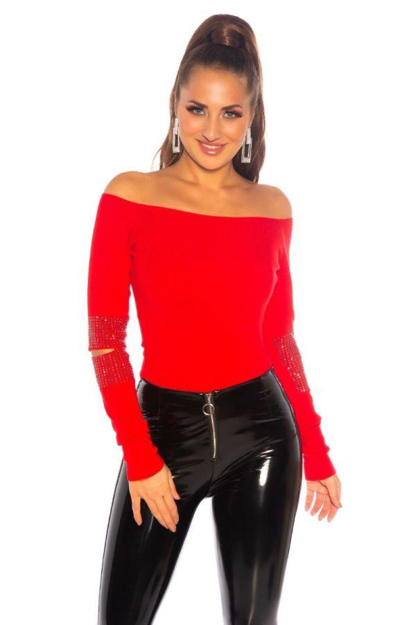 μπλούζα πλεκτή πουλόβερ στρας κόκκινη.
