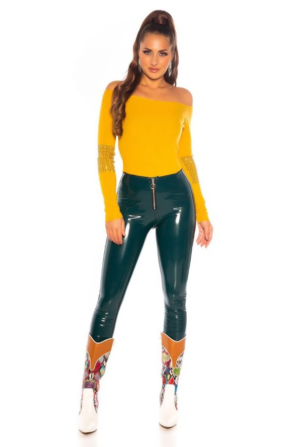BLOUSE KNITTED PULLOVER STRASS MUSTARD ISDU836212