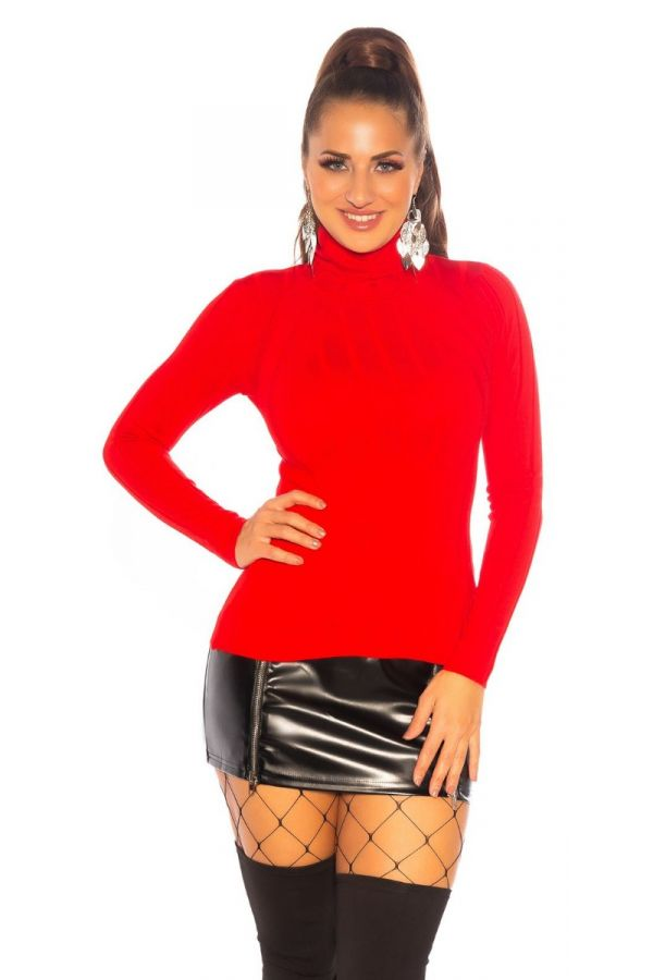 blouse pullover turtle neck red.