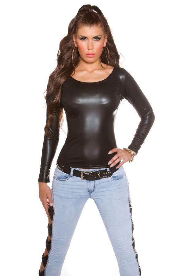 μπλούζα μακριά μανίκα wetlook μαύρη.
