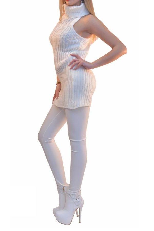 αμάνικο άσπρο πλεκτό μπλούζο-φόρεμα ζιβάγκο λαιμό.