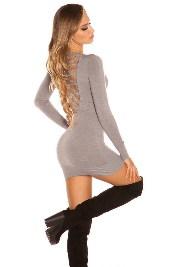 φόρεμα μπλούζα πλεκτό μακριά μανίκια δαντέλα γκρι.