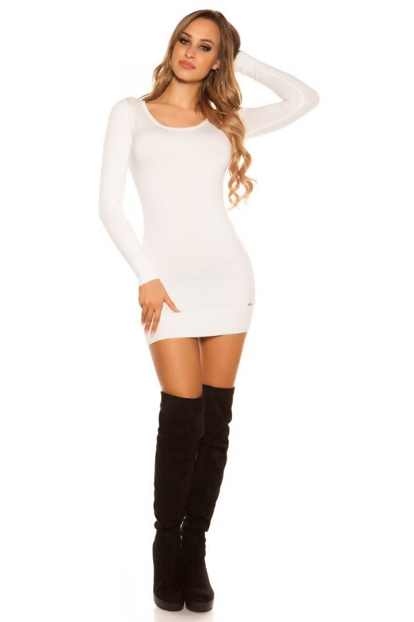 φόρεμα μπλούζα πλεκτό μακριά μανίκια δαντέλα κρεμ.