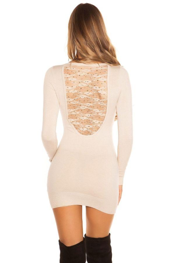 φόρεμα μπλούζα πλεκτό μακριά μανίκια δαντέλα μπεζ.