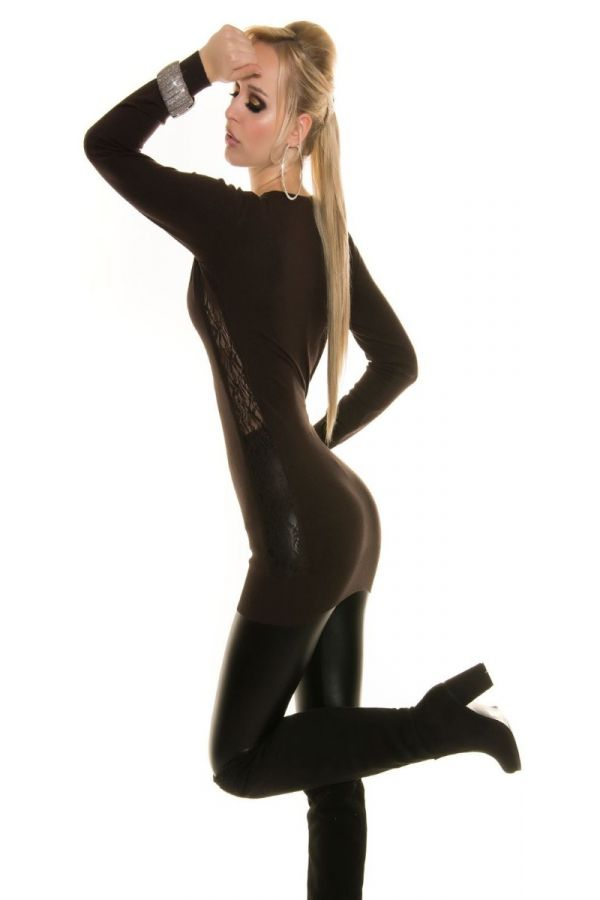 πλεκτό μακρύ καφέ μπλούζα-φόρεμα με δαντέλα.