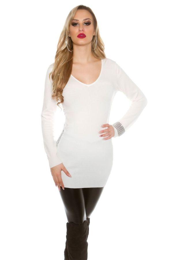 πλεκτό μακρύ κρεμ μπλούζα φόρεμα δαντέλα.