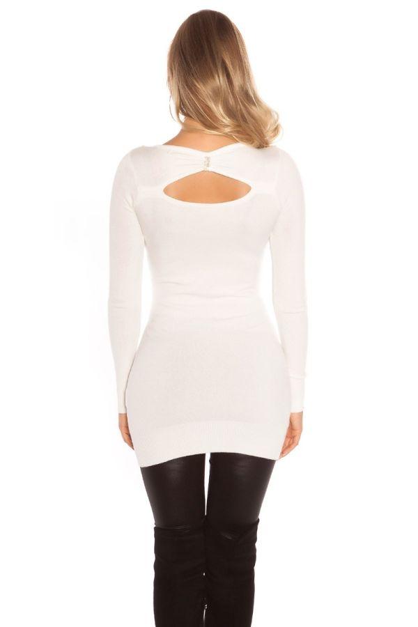 φόρεμα μπλούζα πλεκτό μακριά μανίκια στρας κρεμ.