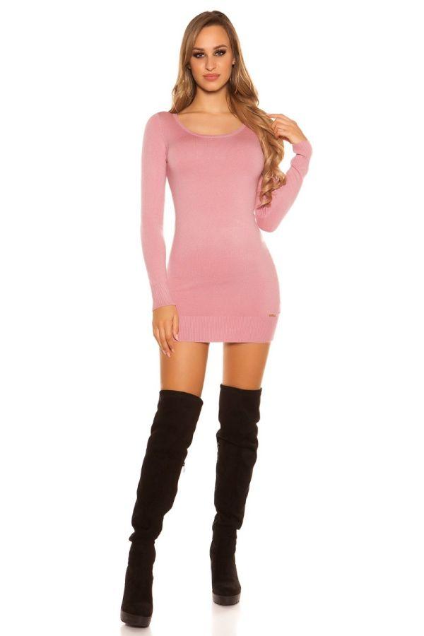 φόρεμα μπλούζα πλεκτό μακριά μανίκια δαντέλα ροζ.