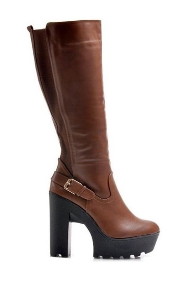 BOOT HIGH HEELED RUBBER BACK CAMEL KK0180