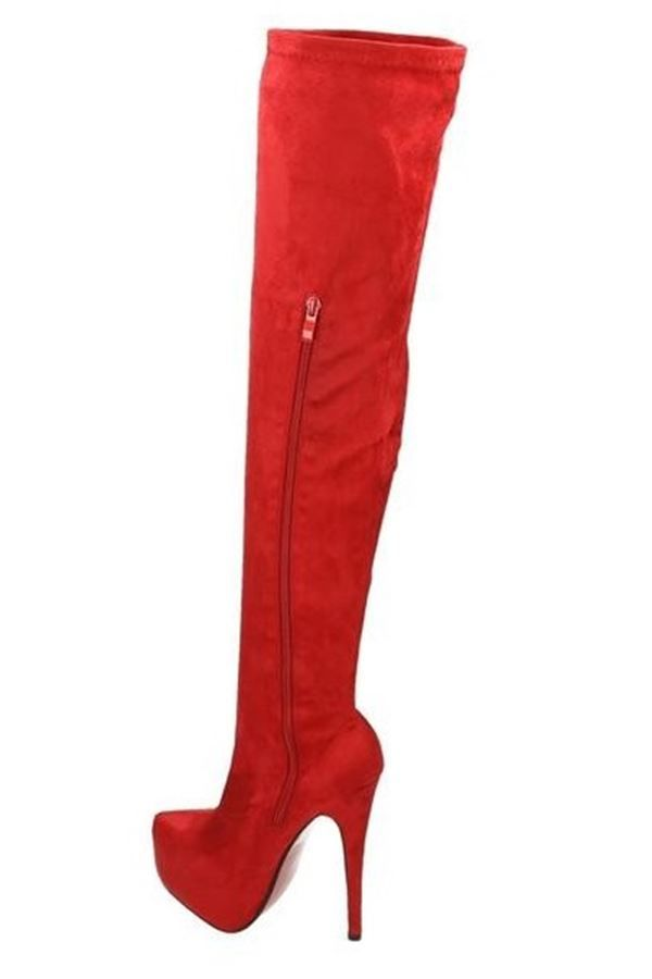 LSP55220 BOOTS SUEDE OVERKNEES PLATEAU RED