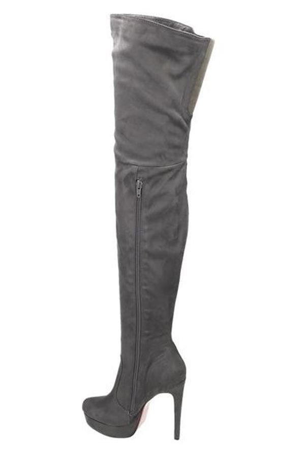 LSP55440 BOOTS SUEDE OVERKNEES PLATEAU GREY
