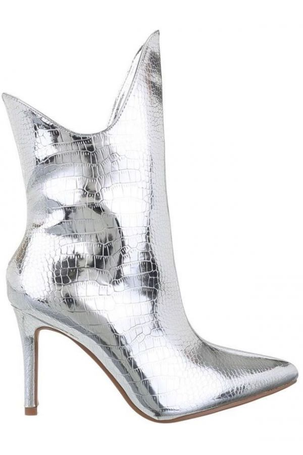 ANKLE BOOTS FORMAL EXCLUSIVE CROCO SILVER FSW017110