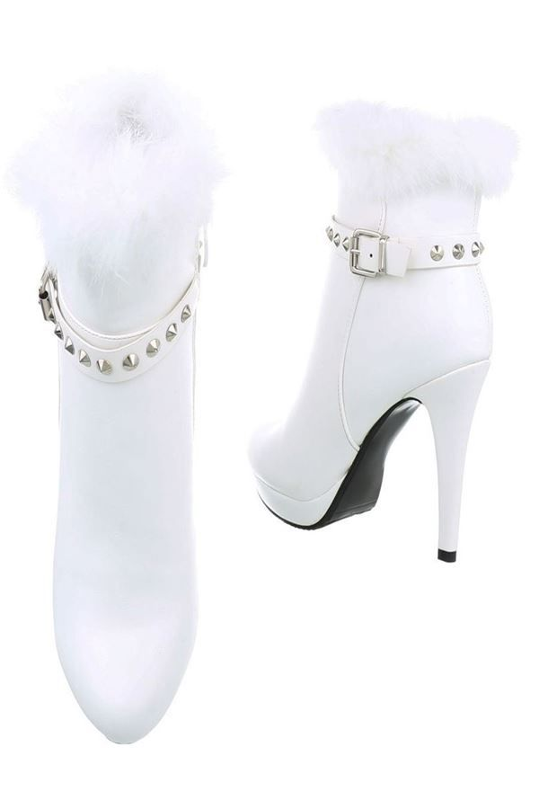 ankle boots high heels fur white.