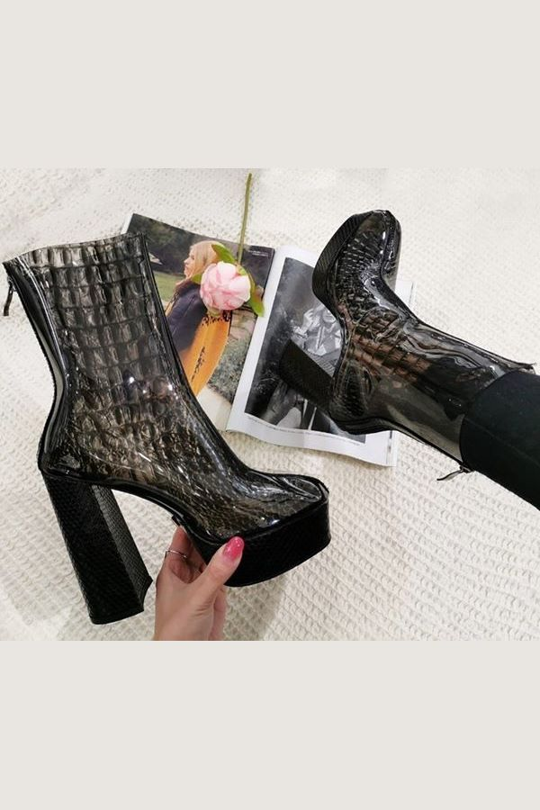 ANKLE BOOTS RAIN HIGH HEELS CROCO BLACK JDKL5200