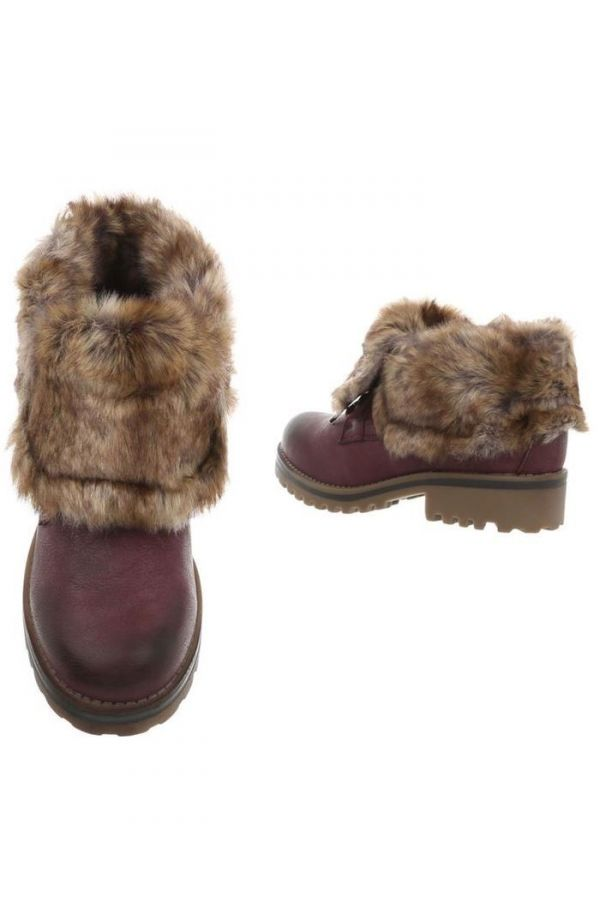 ANKLE BOOTS FUR INSIDE CORDS BORDEAUX FSW98161