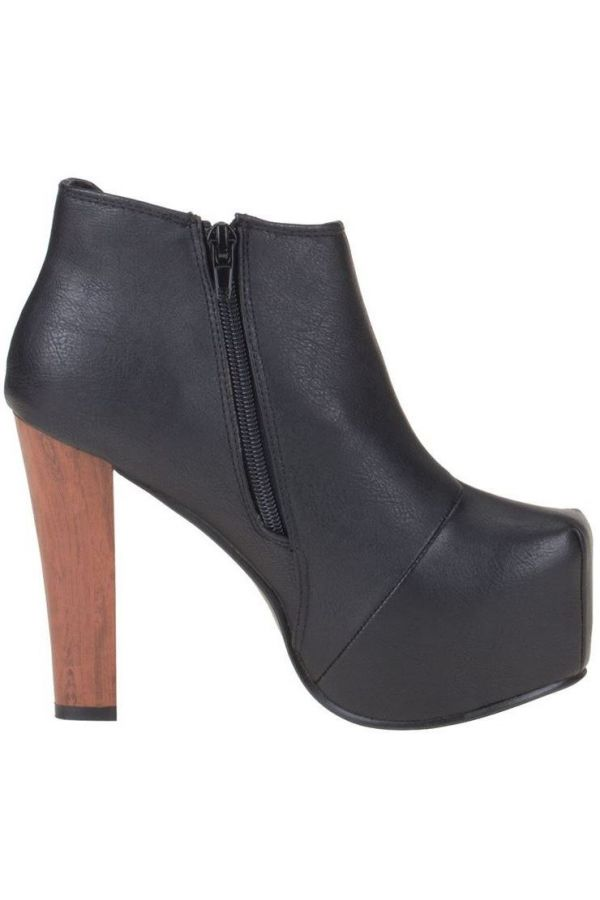 ANKLE BOOTS THICK HEEL BLACK SW07501