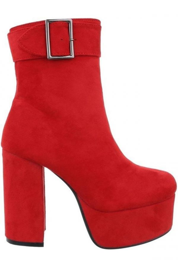 ANKLE BOOTS HIGH HEELS WIDE SUEDE RED FSW0151
