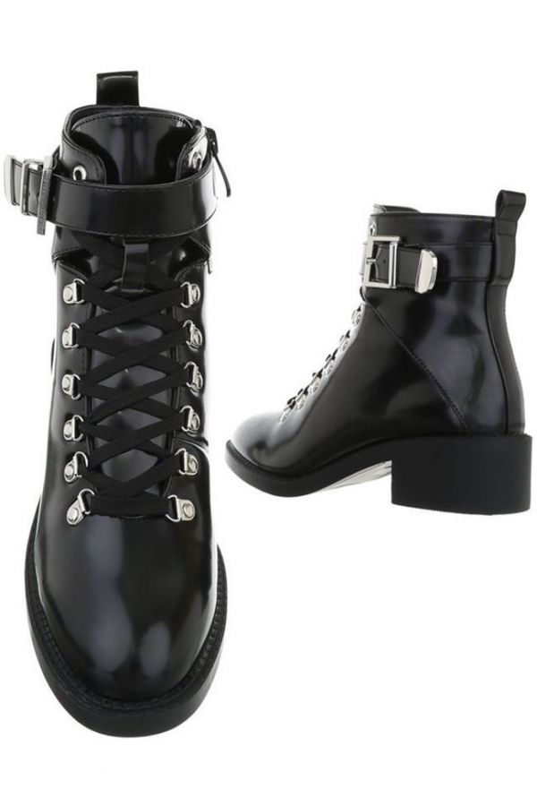 ANKLE BOOTS BUCKLE CORDS BLACK FSW1741