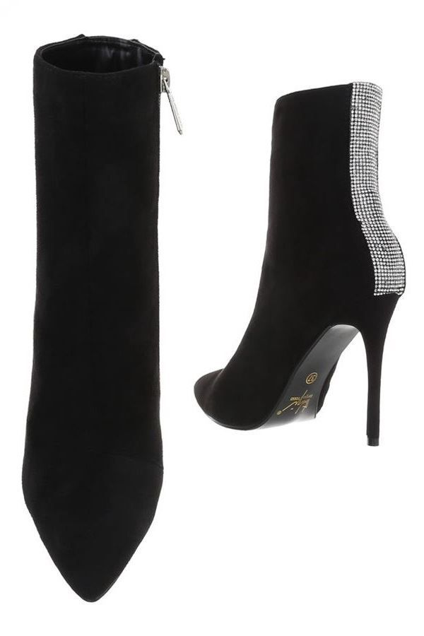 ANKLE BOOTS POINTED STRASS BLACK FSW21211