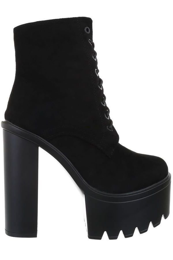 ANKLE BOOTS HIGH HEELS WIDE SOLE CORDS BLACK FSW0141