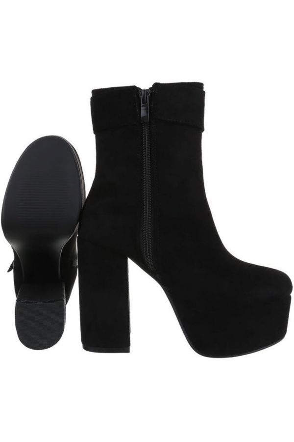 ANKLE BOOTS HIGH HEELS WIDE SUEDE BLACK FSW0151