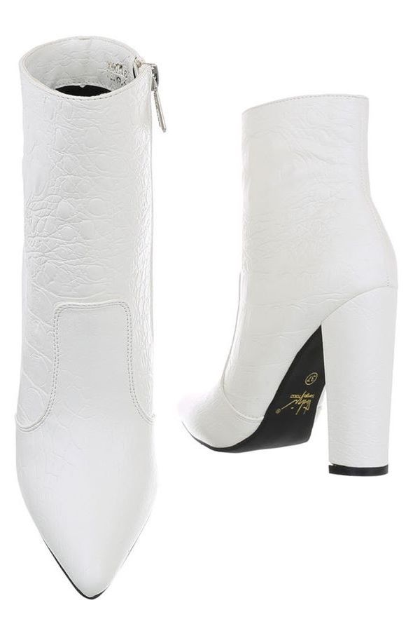 ANKLE BOOTS POINTED WIDE HEEL CROCO WHITE FSW01461