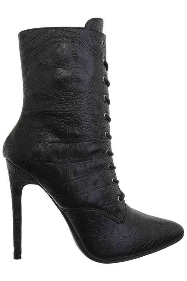 ANKLE BOOTS POINTED SPIKE HEELS CROCO BLACK FSW18841