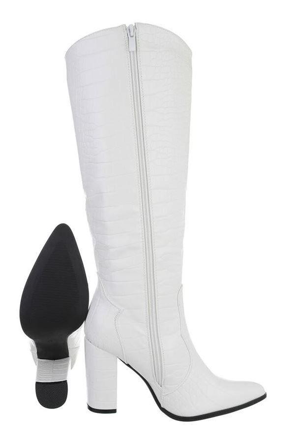 μπότες χοντρό τακούνι άσπρες.