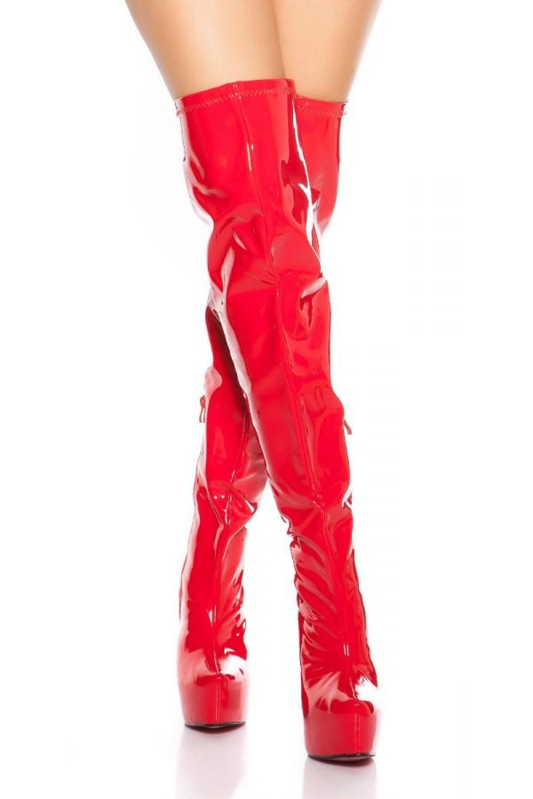 Boots Over Knee Sexy High Heeled Vinyl Red ISDM620215