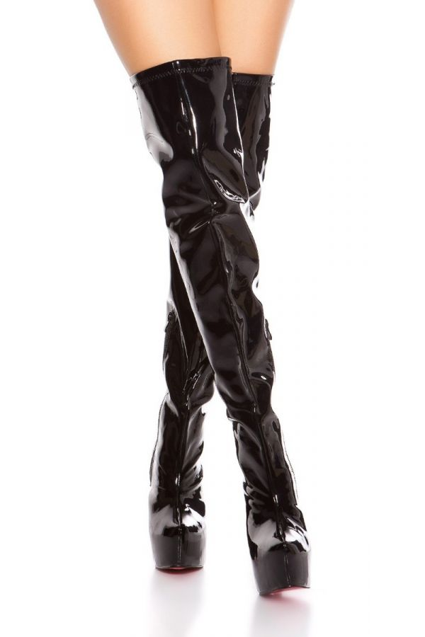 Boots Over Knee Sexy High Heeled Vinyl Black ISDM620215