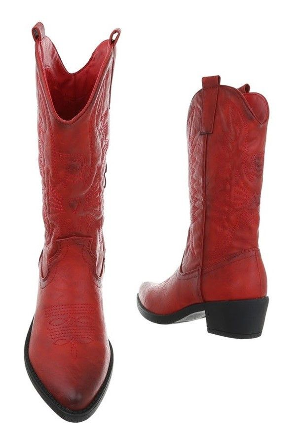 BOOTS POINTED COWBOY DESIGN RED FSW30132