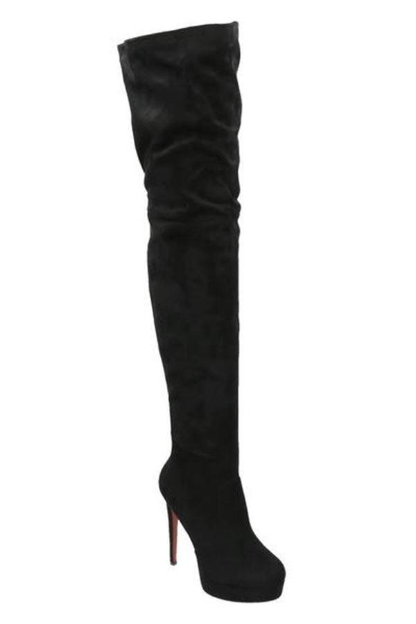 μπότες σέξι γόνατο ψηλό τακούνι φιάπα μαύρες.