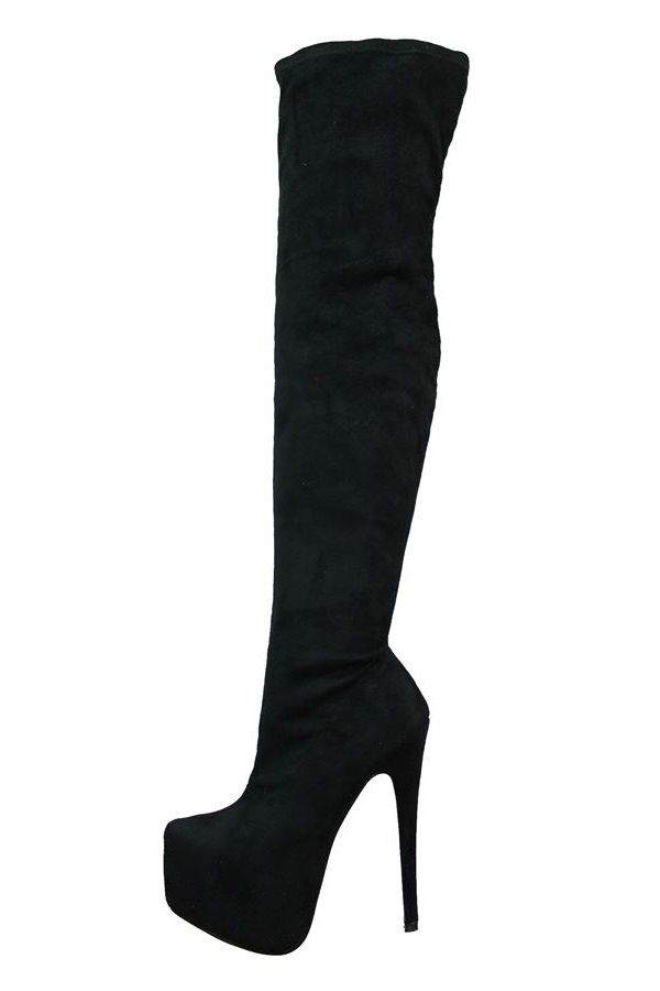 BOOTS SEXY OVER KNEE HIGH HEELS BLACK PARS2051