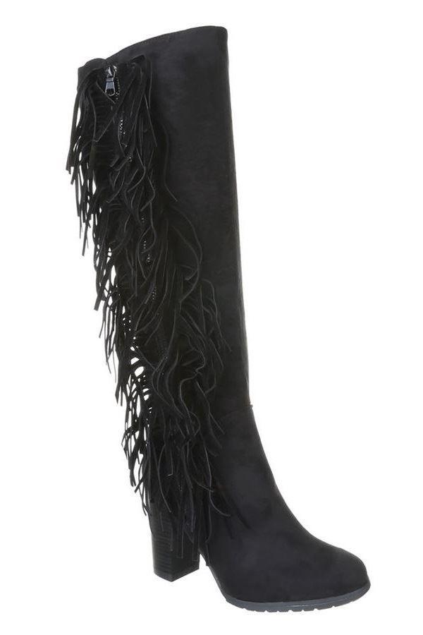 BOOTS SUEDE FRINGES BLACK FSW63200