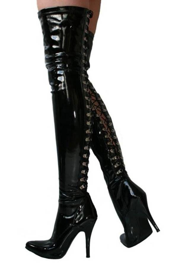 μπότες σέξι ψηλές γόνατο λουστρίνι μαύρες.