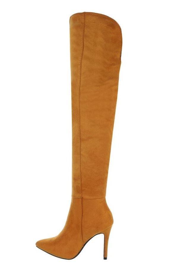 μπότες γόνατο suede camel.