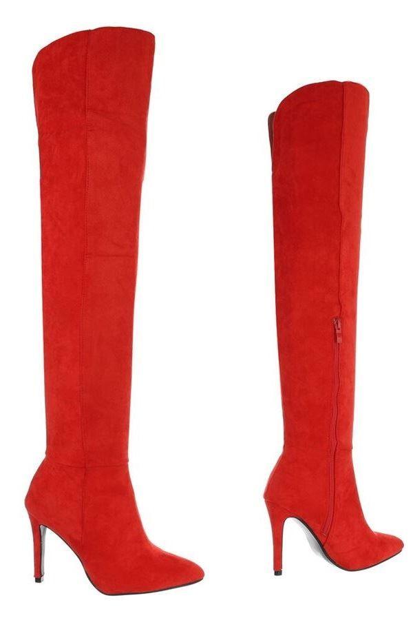 μπότες γόνατο suede κόκκινες.