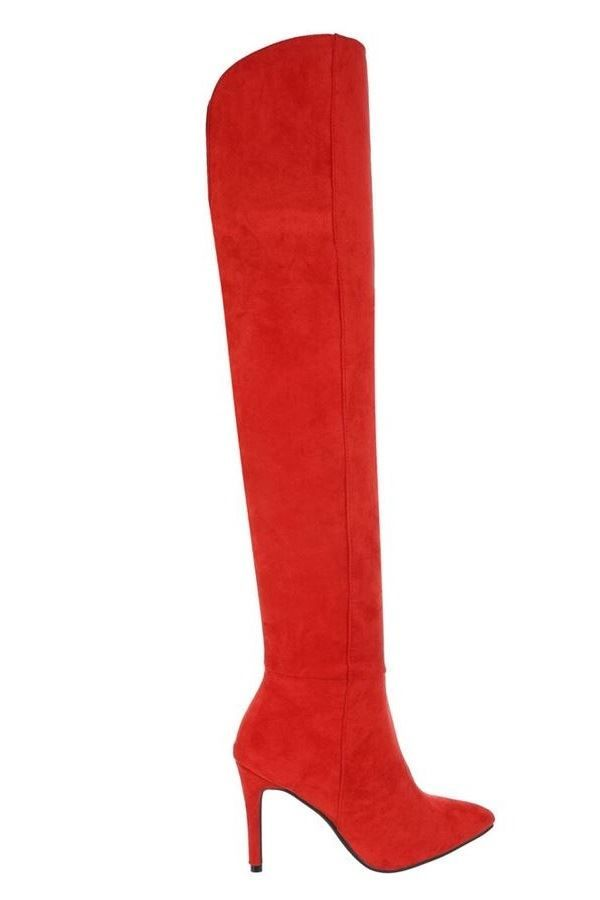 BOOTS OVER KNEE SUEDE RED FSW540261