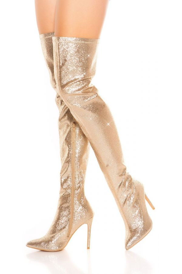 BOOTS OVER KNEE POINTED GLITTER GOLD ISD70817