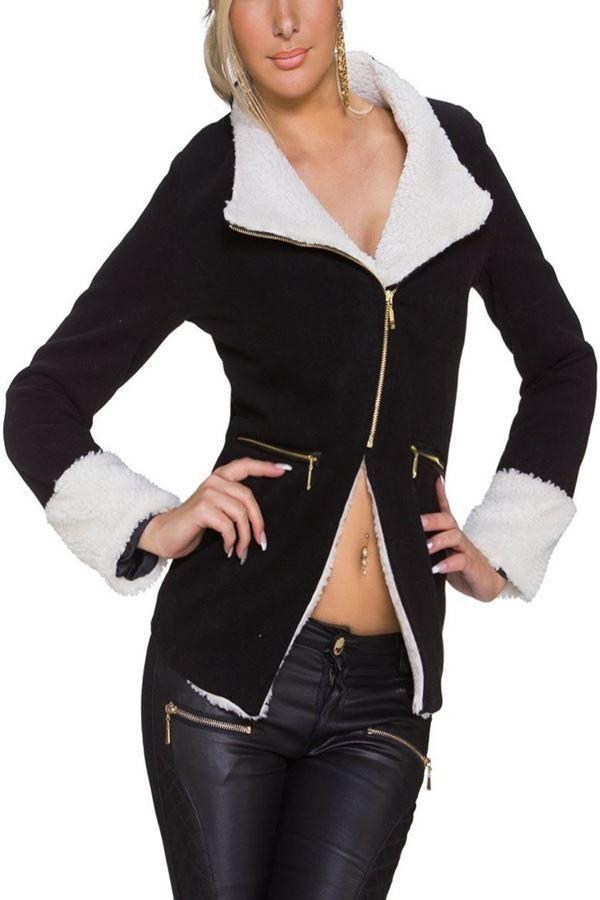 jacket padded white fur black.