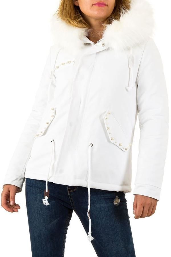 JACKET FUR PADDED HOOD WHITE FSW9711