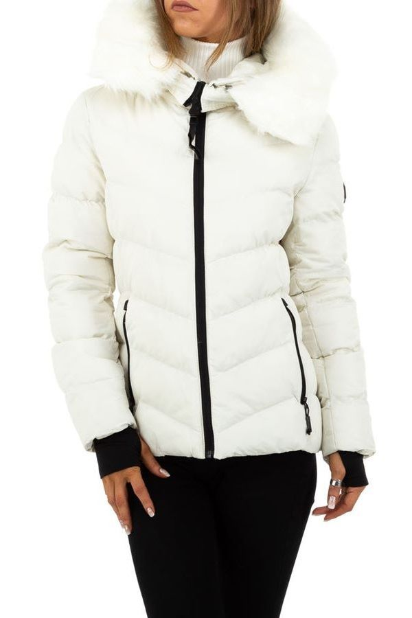 JACKET PADDED HOOD FUR WHITE FSWW59261