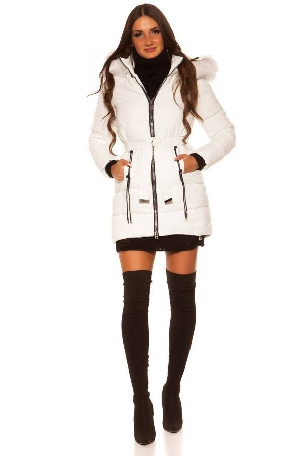 JACKET PADDED HOOD FUR WHITE ISDJY18603
