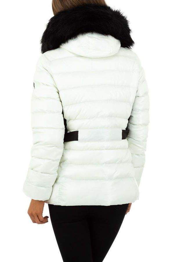 JACKET PADDED HOOD BLACK FUR WHITE FSWW60172