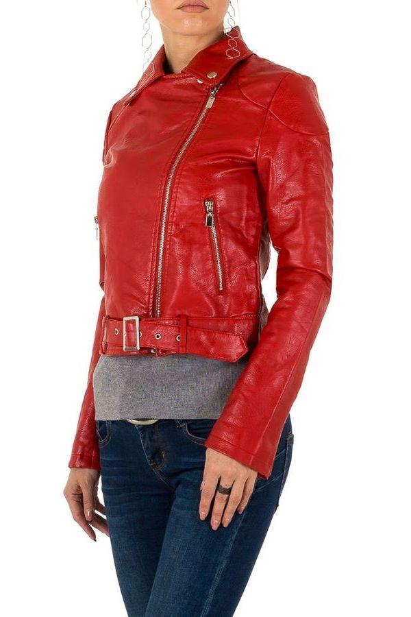 μπουφάν biker κοντό δερματίνη κόκκινο.