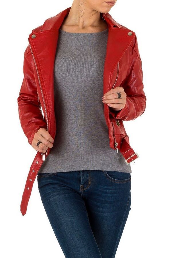 JACKET BIKER SHORT LEATHERETTE RED FSW3B623