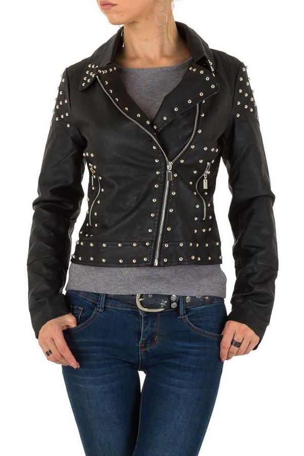 JACKET BIKER SHORT STUDS LEATHERETTE BLACK FSW3B620